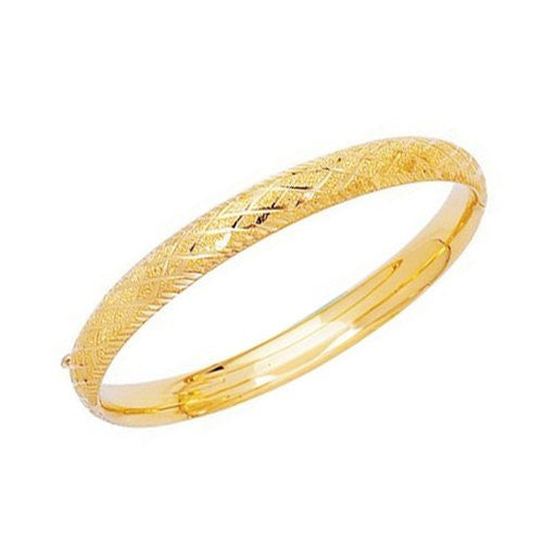 14K Solid Yellow Gold DC-cut Laser Cut Bangle Bracelet 7 Inches