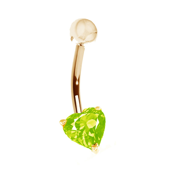 14k Solid Yellow Gold Genuine Peridot Heart Belly Button Navel Ring Body Art