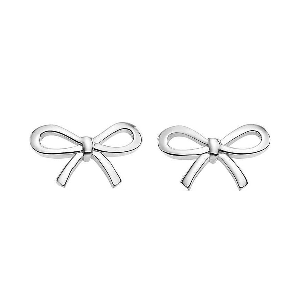 Sterling Silver Bow Ribbon Designer Inspired Shiny Earrings 14x9mm