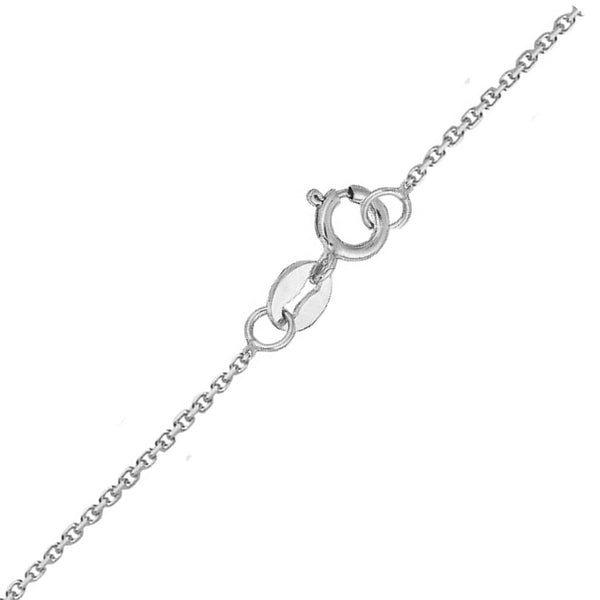 "14K Solid White Gold Cable Chain Baby Childrens Necklace Adjustable 13""-15"""