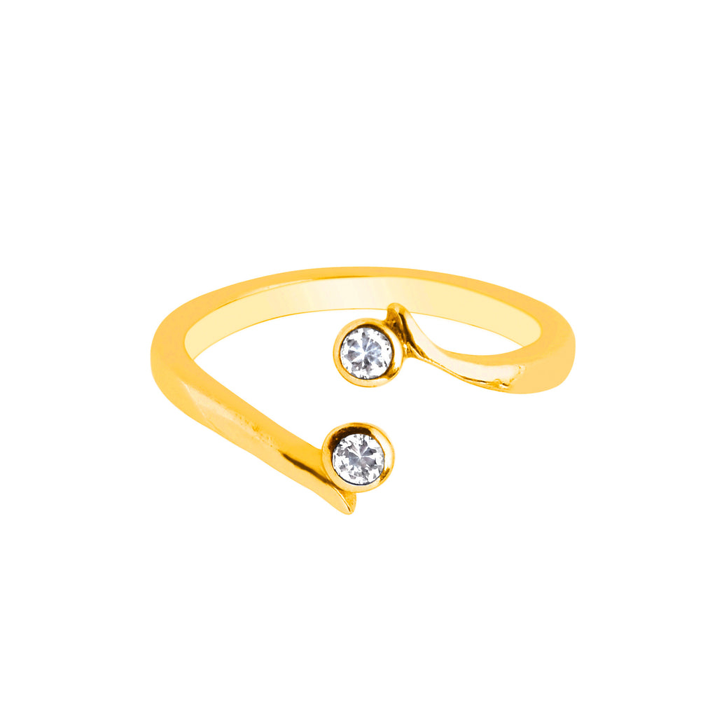 10K Yellow Gold Crossover Round CZ Shiny Adjustable Ring or Toe Ring