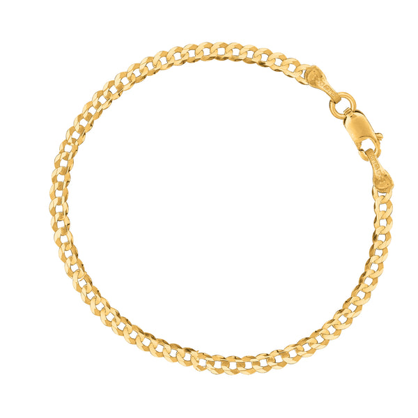 "14k Yellow Gold Curb Chain Anklet Bracelet 10"" 2.5mm"