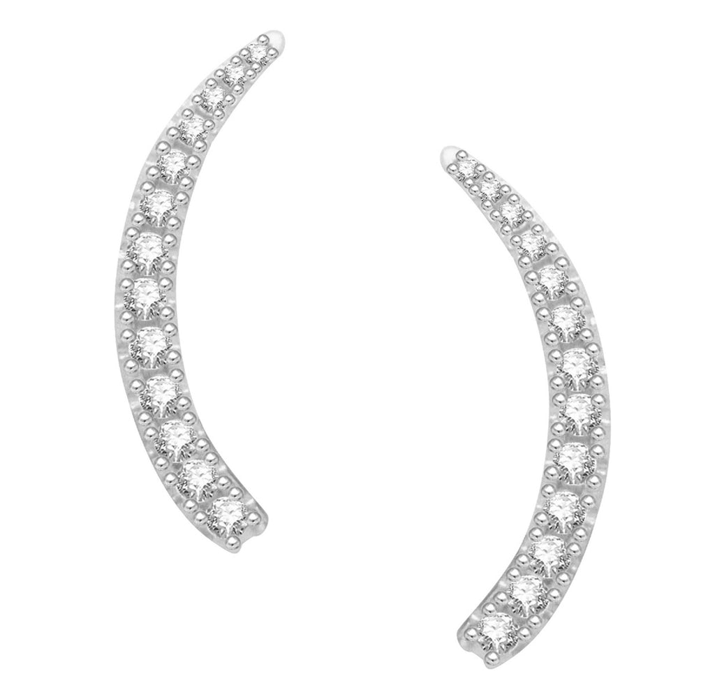Sterling Silver Cubic Zirconia Ear Climber Earrings 20mm