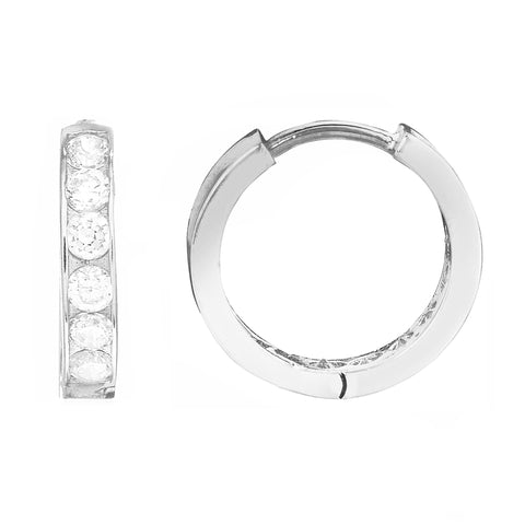 Children's 10k White Gold Baby Kids Cubic Zirconia Huggie Hoop 2x10 Mm