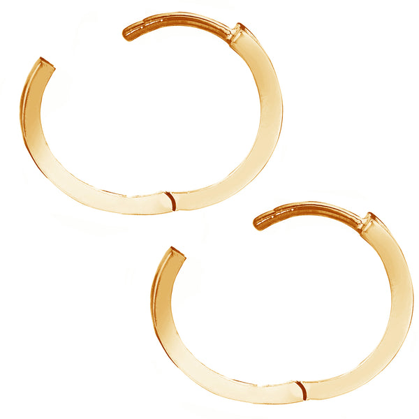14K Real Gold Baby Huggy Huggies Hoops Hoop Earrings 11mm