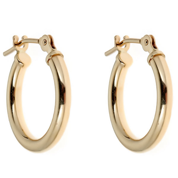 14K Real Gold Hoop Earrings Shiny Hoops Tubular 14mm New