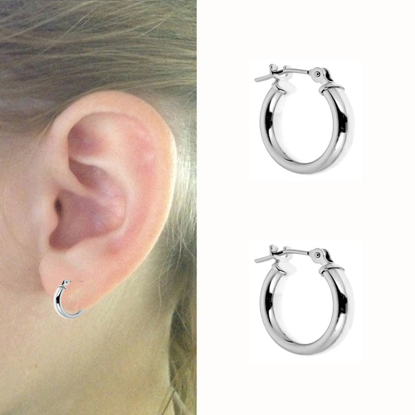 14k White Gold Baby Hoops Earrings Kids Children's 12mm