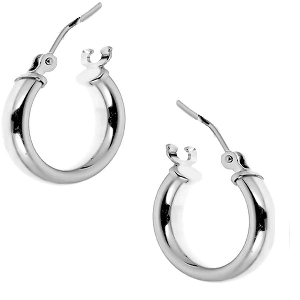 14K Real White Gold Tubular Hoops Hoop Earrings 16mm x2mm