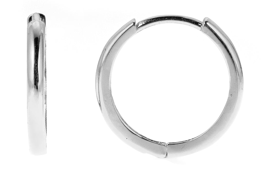 14K Real White Gold Huggy Huggies Hoops Hoop Earrings 12mm
