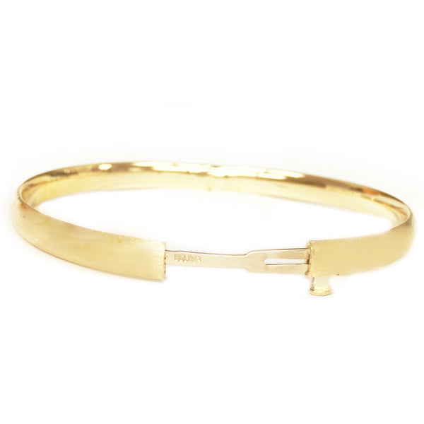 Children's 14K Real Gold Shiny High Polished Baby Kids Bangle Bracelet 5.5""