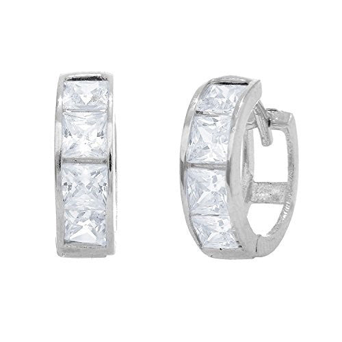 14K Real White Gold CZ Princess Cut Huggie Huggy Hoops Earring 3x11mm