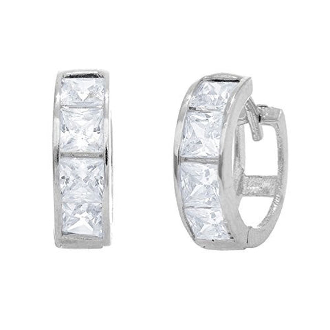 88e2cc5bf35bc9 14K Real White Gold CZ Princess Cut Huggie Huggy Hoops Earring 3x11mm