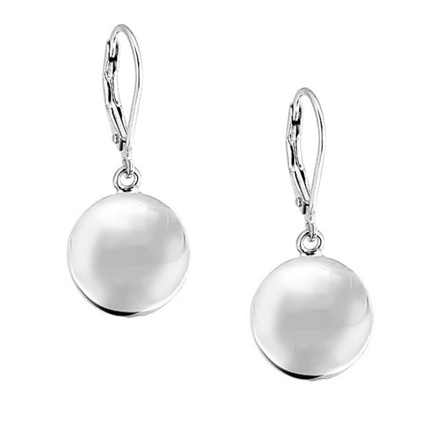 .925 Sterling Silver Lever Back Dangle Ball Shiny 12m Earrings