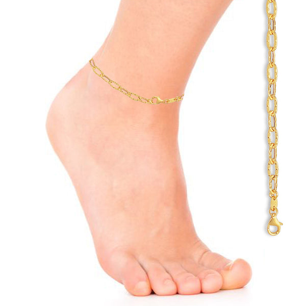 14K Yellow Gold Link Chain Anklet Ankle Bracelet 10""
