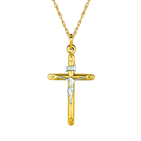 "14K Yellow Gold Crucifix Cross Pendant Necklace 18"" Inch"
