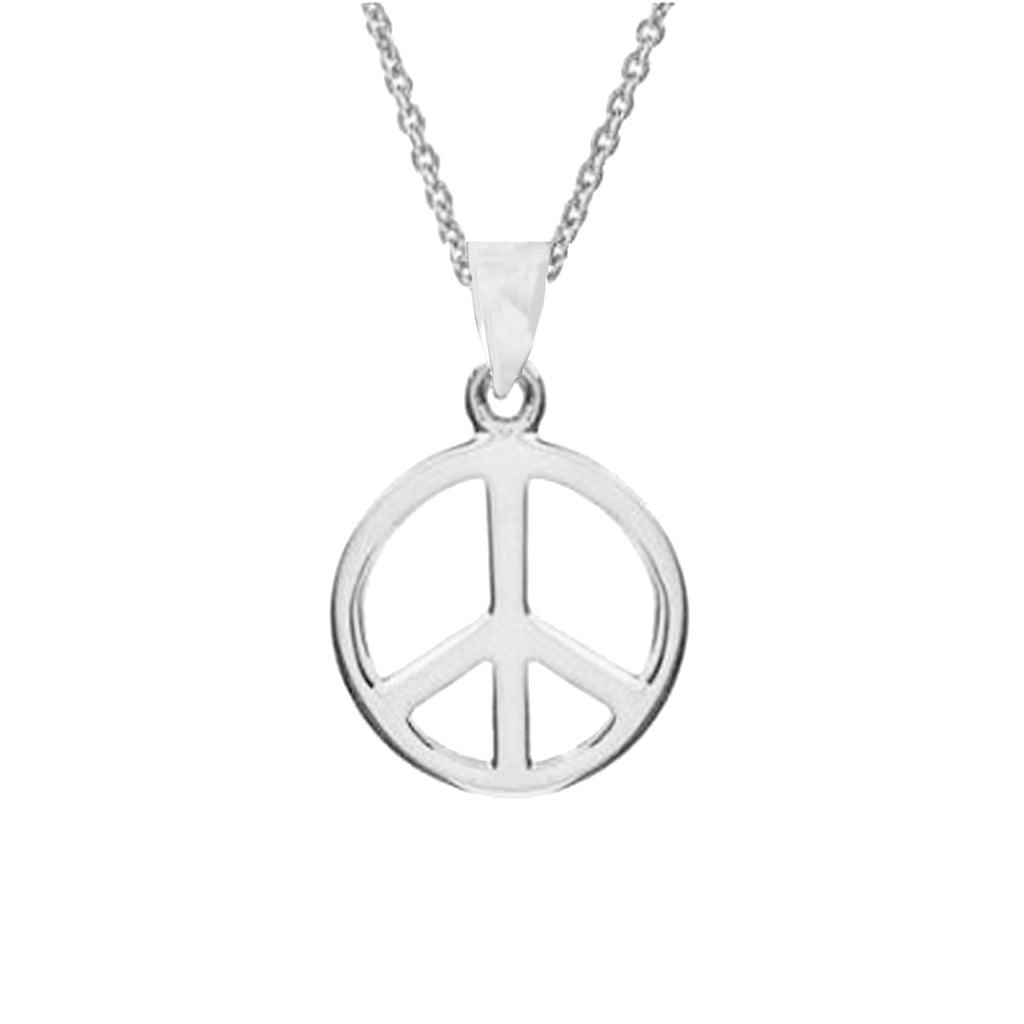 .925 Sterling Silver Shiny Peace Sign Charm Pendant Necklace New 18""