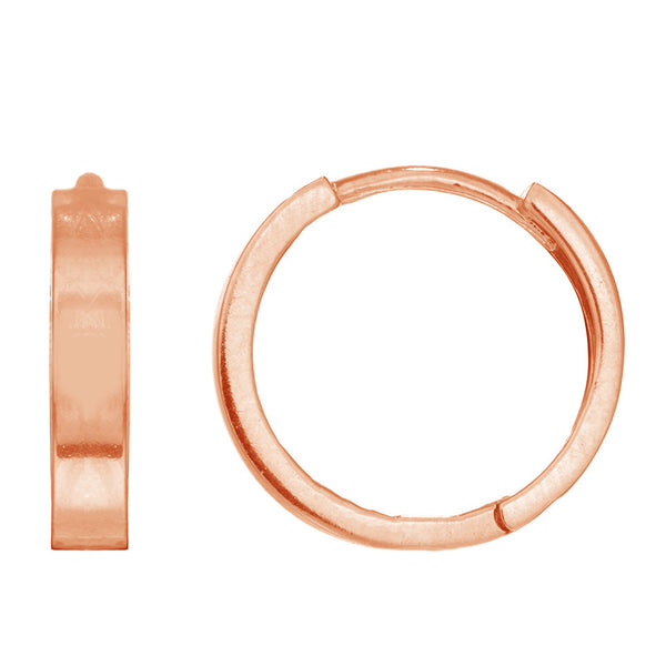 14k Rose Pink Gold Tubular Small Huggy Hoops Earrings 2x11 Mm