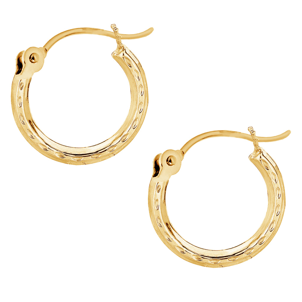14K Real Yellow Gold Tubular Hoop Hoops 2 X 13mm Earrings