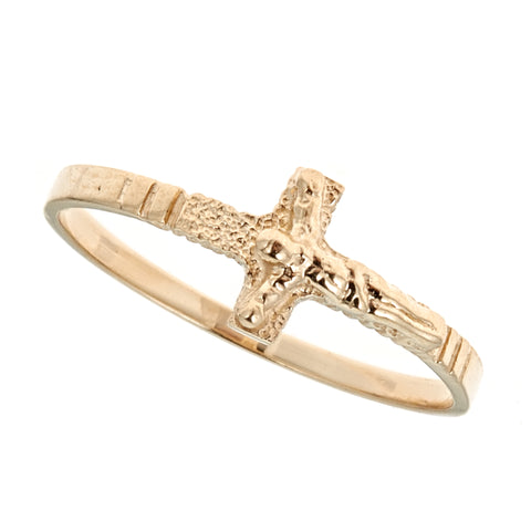 Children's 14k Solid Yellow Gold Baby Sideways Crucifix Cross Ring