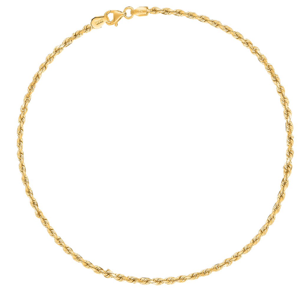"14k Real Yellow Gold Rope Chain Anklet Ankle Bracelet 10"" 2mm"