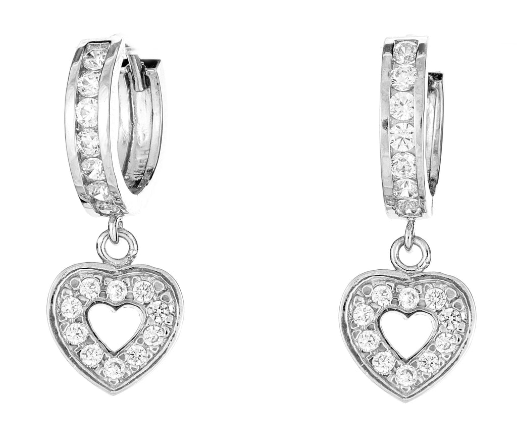 .925 Sterling Silver Open Heart Dangling Huggy Huggie White CZ Earrings