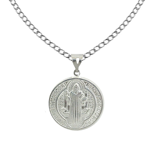 Sterling Silver San Benito St Saint Benedict Medallion 20MM Medal Charm Curb Chain Necklace
