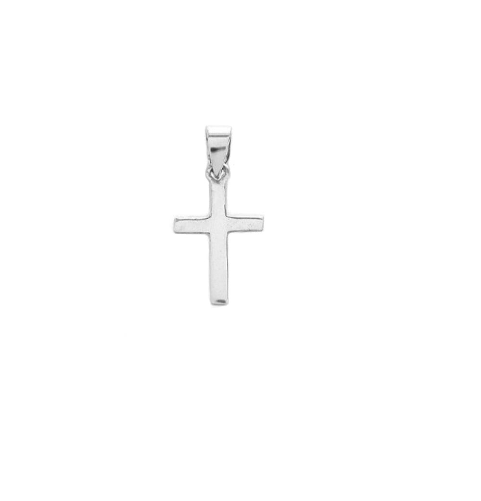 Sterling Silver Shiny Cross Charm Pendant small