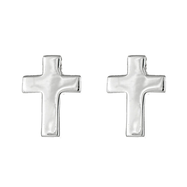 Sterling Silver Tiny Beautiful Cross Studs Posts Earrings