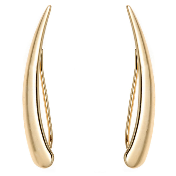 14k Yellow Gold Flat Curved Ear Climber Crawler Earrings 29 Mm