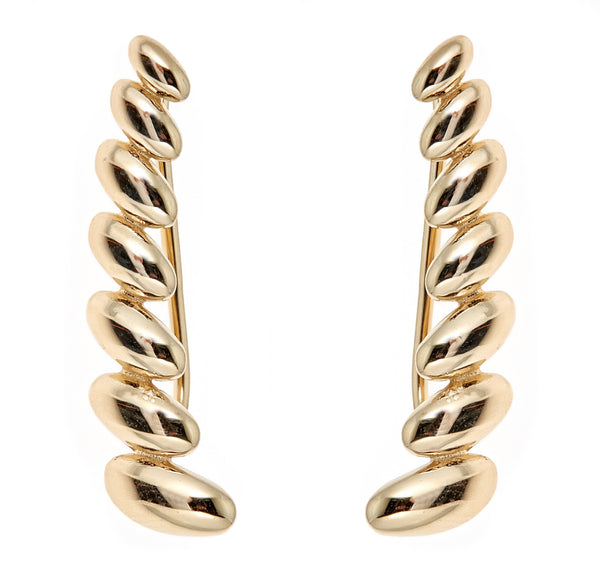 14k Yellow Gold San Marco Ribbed Ear Climber Crawler Earrings 24 Mm