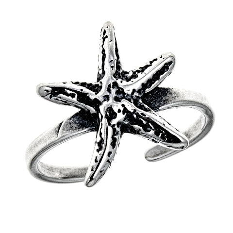 Sterling Silver Starfish Toe Ring Adjustable