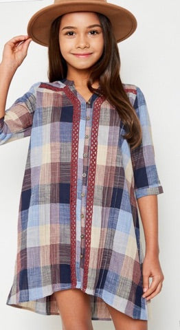 Girls Multi-Colored Plaid Dress