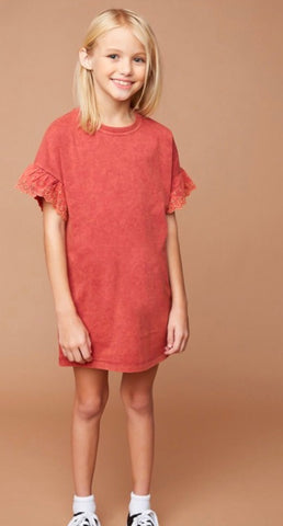 Girls Dress with Lace Cap Sleeves