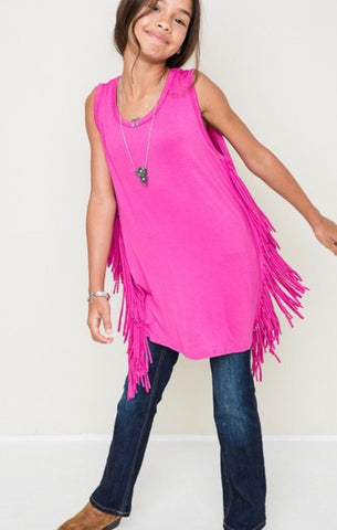 Girls Hot Pink Dress/Tunic with Fringe