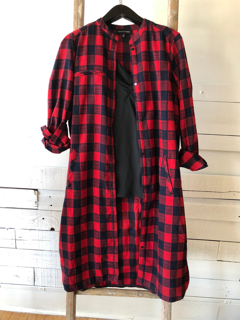 Oversized Button down Cardigan/Dress with back pocket detail