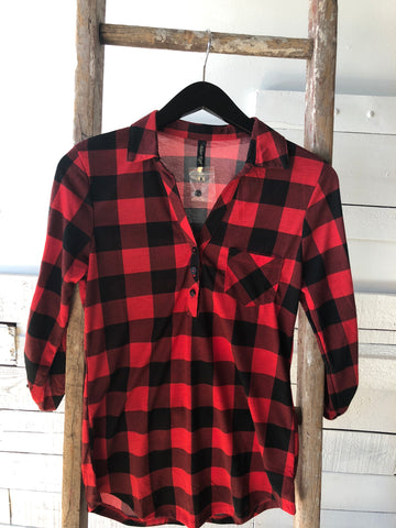 Girls Plaid Top with 3/4 lengthsleeve