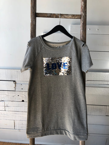 Girls Distressed Sweatshirt Dress with Shifting Sequins Design