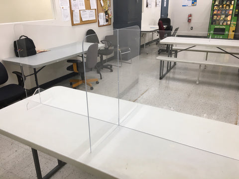 Lunchroom Table Dividers | Easy to clean | Water Clear Acrylic | Made in the USA
