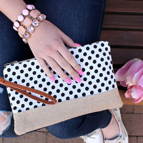 Polka Dot Clutch/Wristlet