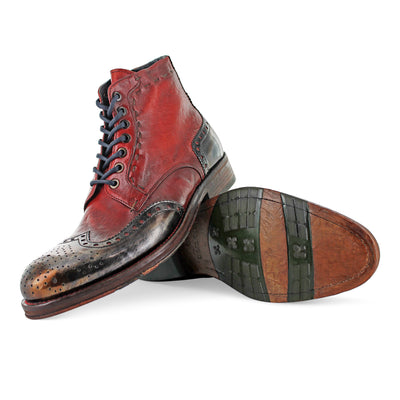 6320 - Red Brogue Boot With Metallic Toe Cap
