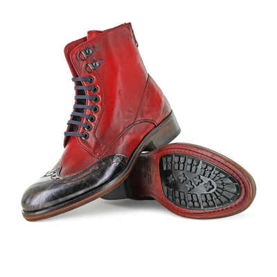 6309 - Hand Finished Red Ankle Boot