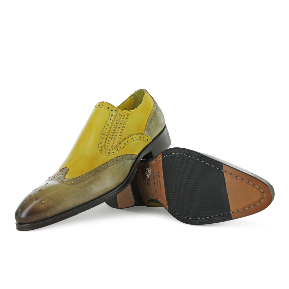 1350 -Mushroom And Yellow Slip On Brogue