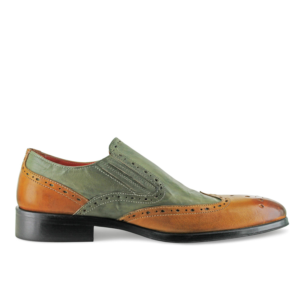 1350 - Tan And Green Slip On Brogue