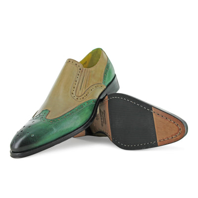 1350 - Mushroom And Green Slip On Brogue
