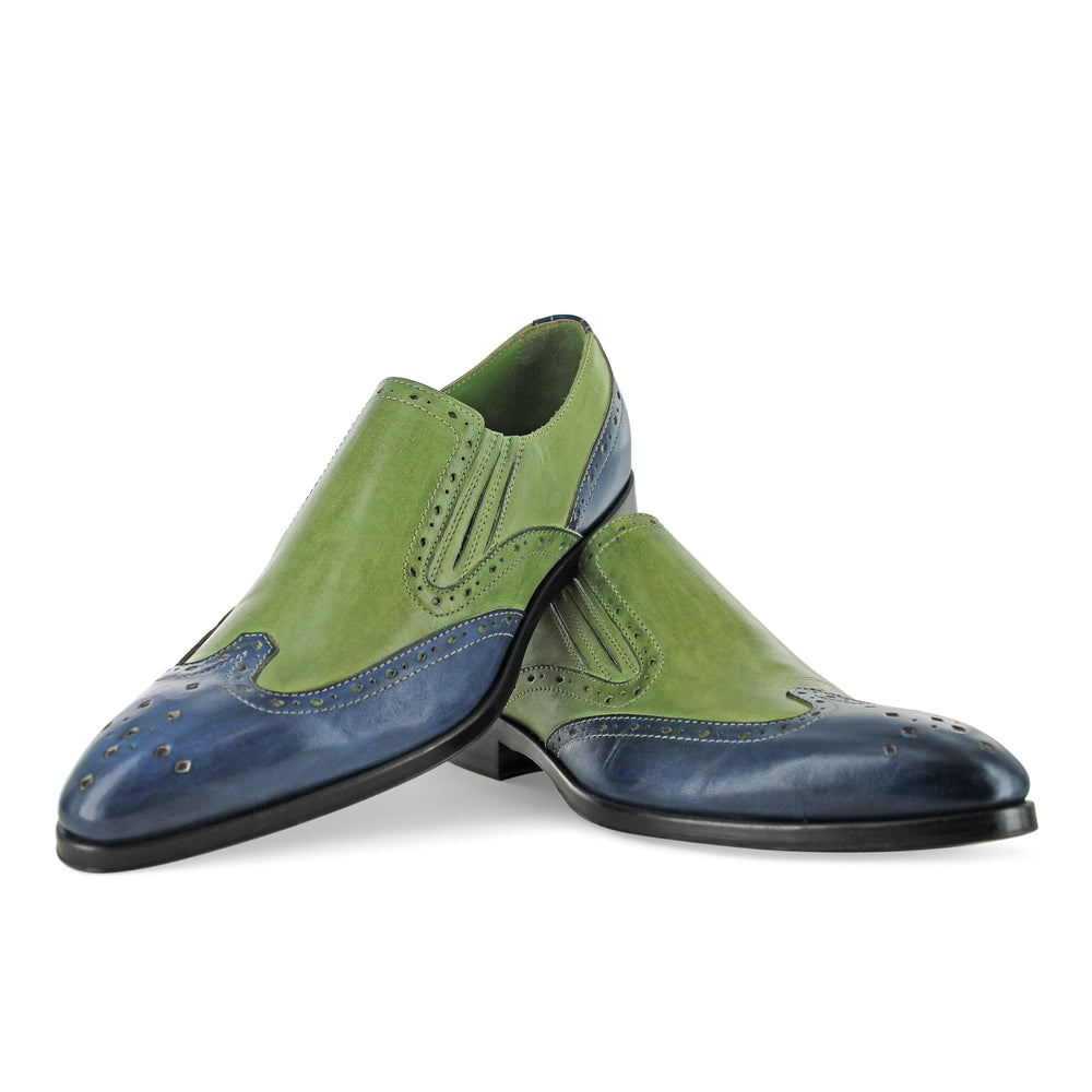 1350 - Green And Blue Slip On Brogue
