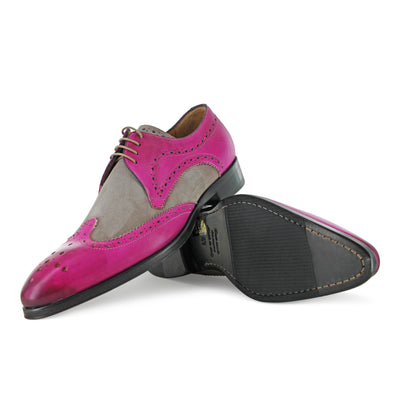 1312 - Fuchsia With Beige Brogue