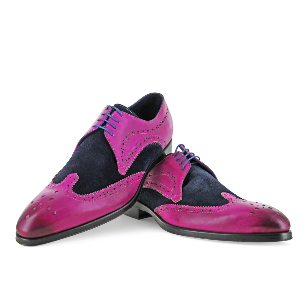 1312 - Fuchsia and Navy Suede Brogue