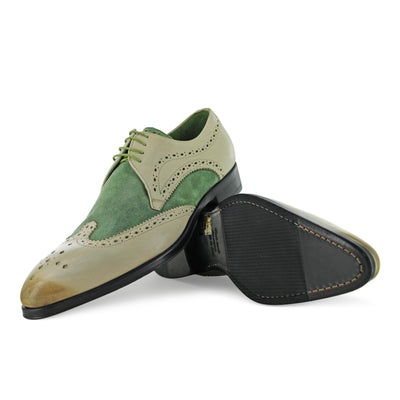1312 - Beige With Green Suede Brogue