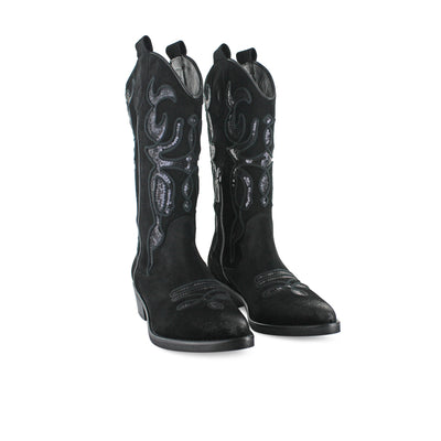 MU742 - Black Sequence Suede Cowboy