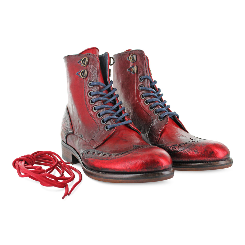 12385 - Hand Finished Red Ankle Boot